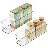 mDesign Plastic Stackable Food Storage Container Bin with Handles for Kitchen, Pantry, Cabinet, Fridge, Freezer - Long Narrow Organizer for Snacks, Produce, Vegetables, Pasta, 2 Pack - Clear