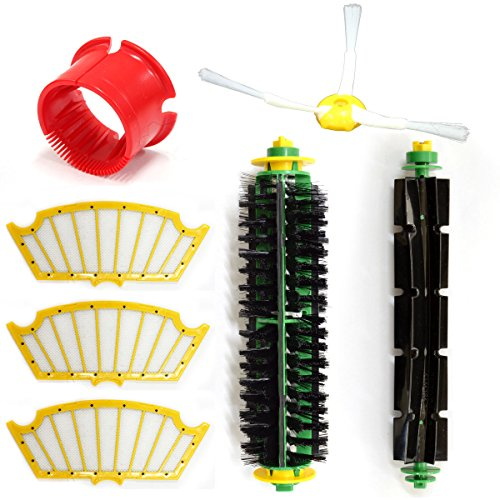 Eztronics Corp  Bristle Brush Flexible Beater Brush Side Brush Filter Kit For Roomba 500 Professional Series