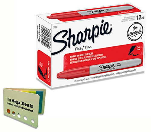 Sharpie 30002 Fine Point Permanent Marker, Red Color, Pack of 12 Markers, Includes 5 Color Flag Set