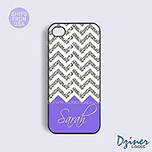 Personalized Your Initials iPhone 5c Case - White Silver Glitter Purple PatterniPhone Cover (NOT A REAL GLITTERS)