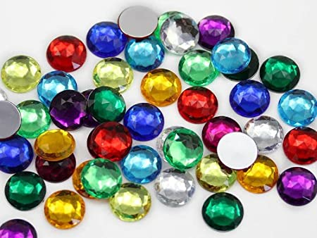 150 Pieces Assorted Colors Allstarco 13mm Flat Back Round Acrylic Rhinestones Plastic Gems for Jewelry Making Costume Jewels Cosplay Embelishments