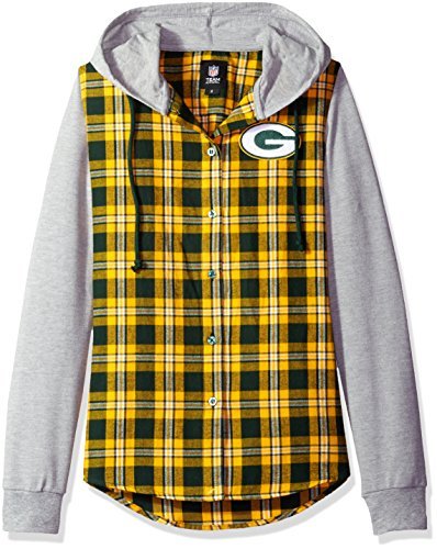 NFL Green Bay Packers Womens NFL Women's Lightweight Flannel Hooded Jacket, Small by Forever Collectibles