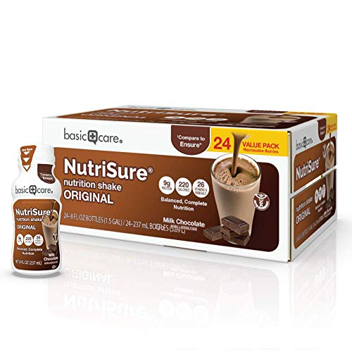 Amazon Basic Care Nutrisure Adult Nutritional Shake, Chocolate, 24 Count