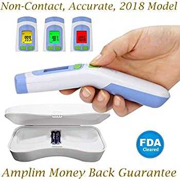 Hospital Medical Grade No Touch Non Contact FDA Approved Digital Infrared Temporal Forehead Thermometer + Case for Baby/Adult/Kid/Toddler/Infant/Nurse.