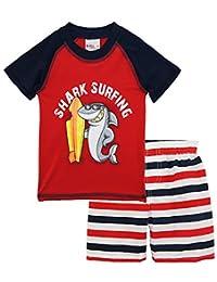 Sweet & Soft Baby Boys Short Sleeve Shark Surf Rash Guard Stripe Swim Trunk Set, Red, 12 Months