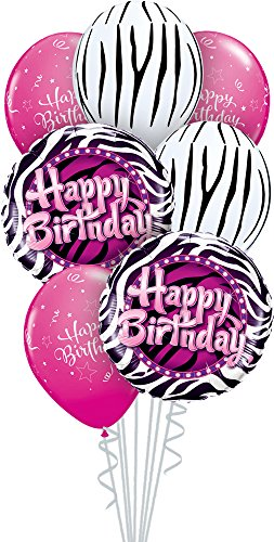 Qualatex 39344 Box 7 Piece Balloon Bouquet, Zebra Birthday