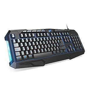 1byone Teclado gaming de 114 teclas retroiluminado con cable, atajos multimedia y luces de respiración, negro