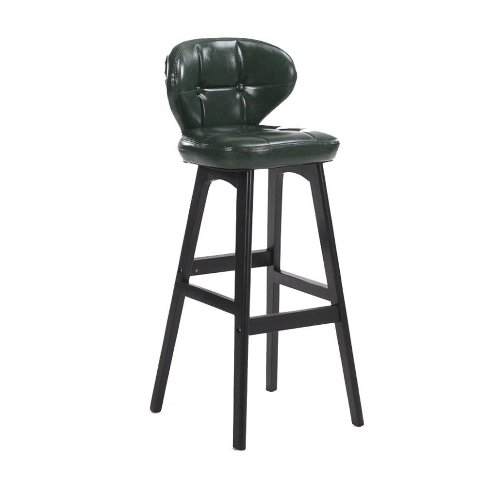 ヨーロッパの木製の黒いバーの椅子の皮革の外の外観背もたれとフットレスト付きの現代的でシンプルなバーのスツールアメリカンハイチェアキッチンの朝食用カウンターコンサバトリーカフェパブと家庭用 (サイズ さいず : 85cm) B07D8PTTBC85cm
