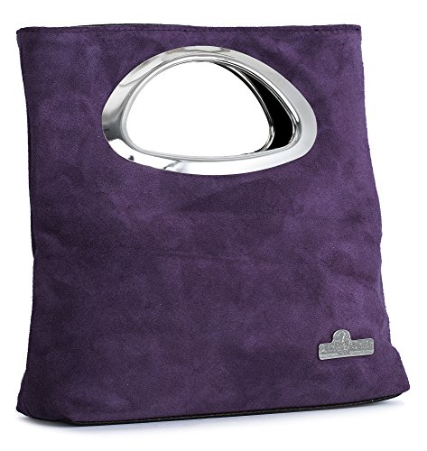 Leather Handle Deep Purple Foldable Small LIATALIA Suede Purse RHEA Italian Evening Bag Plain Top Clutch qn1xpSRU