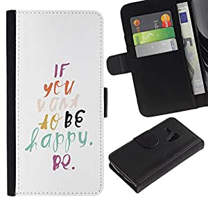 EuroTech - Samsung Galaxy S3 MINI NOT REGULAR! I8190 I8190N - Be Happy Watercolor Text Motivational - Cuero PU Delgado caso Billetera cubierta Shell Armor Funda Case Cover Wallet Credit Card