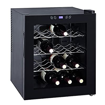 Generic Thermoelectric Wine Cooler Refrigerator Cabinet Counter Top Mini Beer Cellar,16 Bottles,Black,1.7 Cu Ft