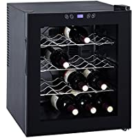 SMETA Counter Top Wine Cooler Refrigerator Cabinet Beverage Fridge,16 Bottles,Black,1.7 Cu Ft