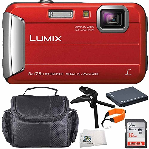 Panasonic DMC-TS30R DMC-TS30 TS30 LUMIX Active Lifestyle Tough Camera (Red) 16GB 6PC Accessory Bundle Includes SanDisk Ultra 16GB Class 10 SDHC Memory Card (SDSDUN-0016G-G46) + MORE by SSE