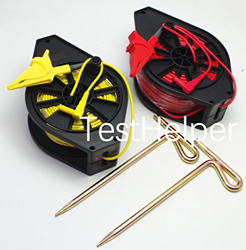 (TestHelper Durable Cable Reel for GEO Earth Ground Resistance Testing Meter Test Leads (Red+Yellow 50m+25m))