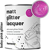 Hemway Glitter Matt Varnish Lacquer Quick Dry Sparkling Glaze Interior Exterior, Furniture, Accessories, Brick, Wood, Stone, Plaster, Plastic, Tiles (1 Litre / Quart, Baby Pink)