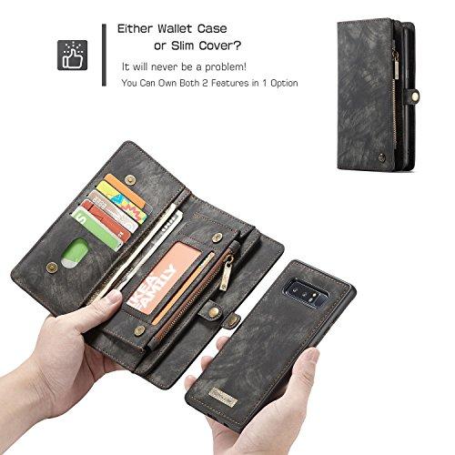 JIALUN-Caja del teléfono o cubierta Funda de billetera CaseMe Samsung Galaxy Note 8 con funda extraíble de TPU para PC, de lujo, hecha a mano, cuero TRIFOLD Protege tu teléfono ( Color : Red ) Black