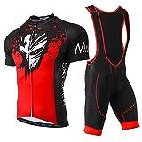 Skysper Cycling Jersey Set Men MTB Bike Bib Short Sleeve Quick-Dry Breathable Shirt 3D Cushion Shorts Padded Pants
