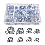 Yacolife 160 pcs Hose Clamps Assortment Screwdriver Hose Clamps Spring Clamp Gasoline Hose Tap Water Pipe Air Clamps Fastener Diameter Φ6.5 - Φ18mm