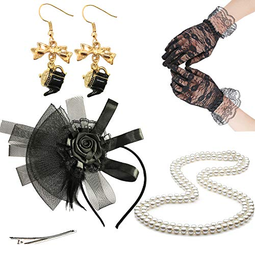Fascinators 20s 50s Hats for Womens,Cocktail Party Hat,Tea Party Wedding Headband,w/Pearl Necklace & Lace Gloves (OneSize, EarringsSet2-Black) -