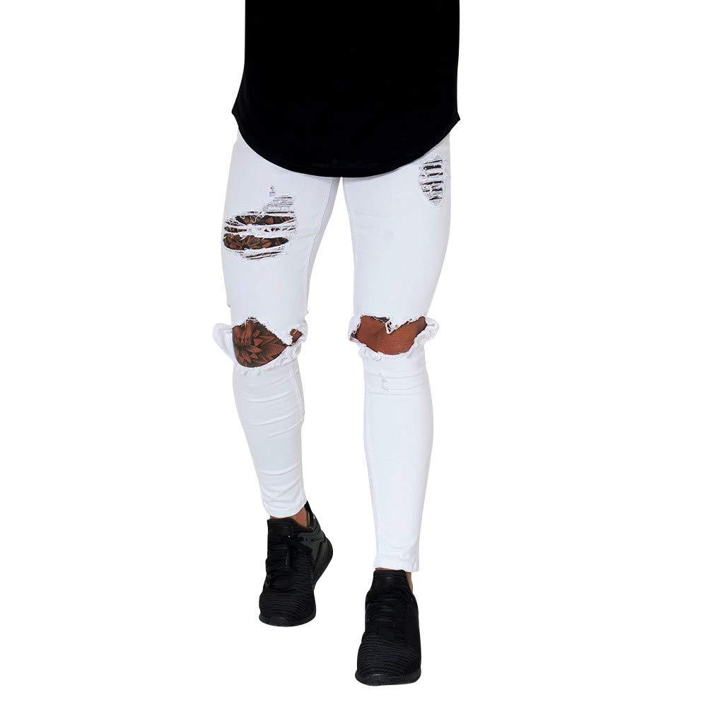 Bestow-pantalones Vaqueros Rotos para Hombre Pantalones Vaqueros con Cremallera Streetwear Pantalones Black Friday