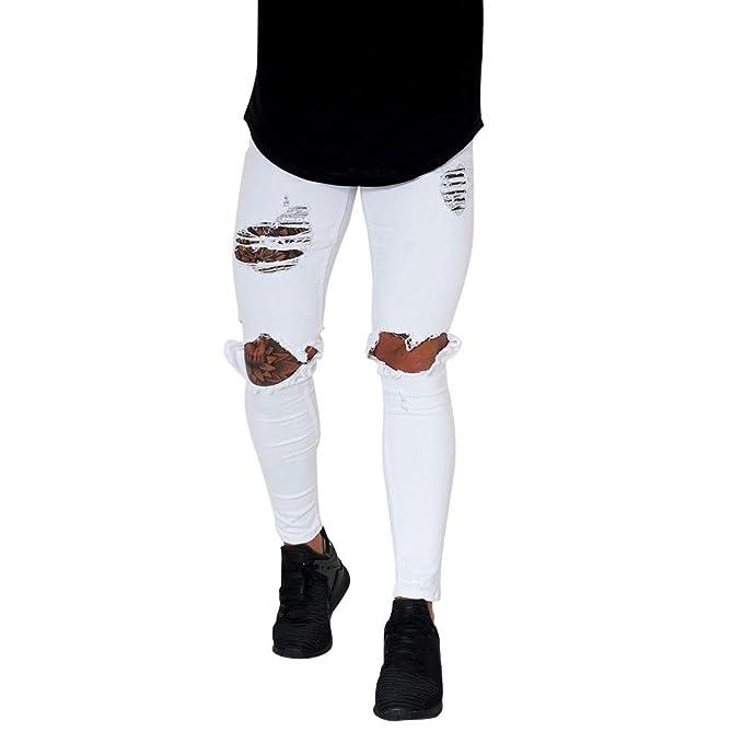 980c55d1 Bestow-pantalones Vaqueros Rotos para Hombre Pantalones Vaqueros con  Cremallera Streetwear Pantalones Black Friday