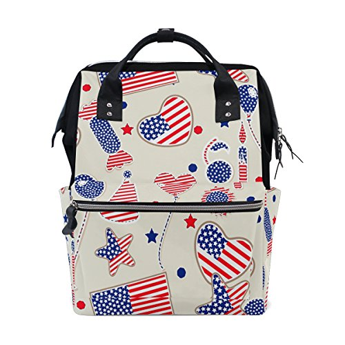 (Diaper Bags Backpack Mummy Backpack with Love Heart Candy Balloon USA Flag Print Travel Laptop Daypack )