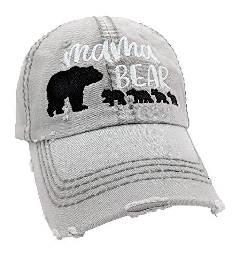 Customizable, Choose Cub Number, Mama Bear Baseball Cap (LightGrey/Customized) ()