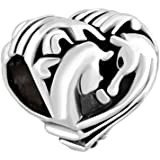 CharmSStory Best Friends Heart Love Couples Horse Charm Beads Charms for Bracelets