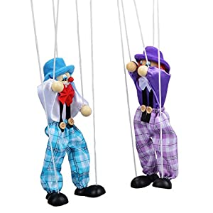 SCASTOE Pull String Puppet Clown Pirate Wooden Marionette Toy Doll Vintage Children Gift