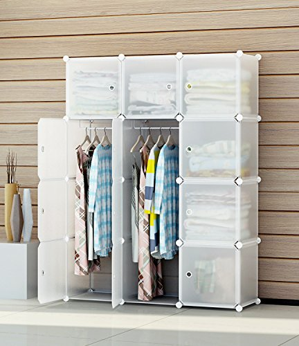 Perfect KOUSI Portable Clothes Closet Modular Plastic Wardrobe Freestanding Storage  Organizer With Doors, Large Space And Sturdy Construction, Transparent 12  Cube