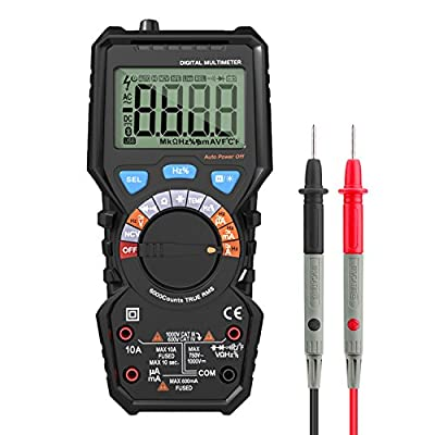 Auto-Ranging Digital Multimeter, Housolution True RMS 6000 Counts Digital Multi Tester Volt Amp Ohm Diode and Continuity Test, Non Contact Voltage Detection, Backlight LCD Display - BLACK