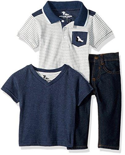 American Hawk Baby Boys Polo, T-Shirt and Denim Jean 3 Piece Set
