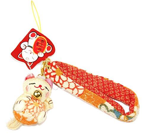 "Orange Cat Charm - Speedy Sale! Orange Kitty : Chirimen Maneki Neko Lucky Cat Charm – 6"" (150mm)"