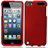 Premium Rubberized Hard Crystal Front + Rear Case Cover for Apple iPod Touch 5G, 5th Generation, 5th Gen - Red compatible with 32GB / 64GB