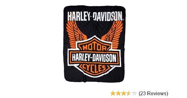 ea2167b0cd Amazon.com: Harley-Davidson Wings Fleece Throw Blanket 50'' x 60'' Black &  Orange NW918580: Harley-Davidson: Home & Kitchen