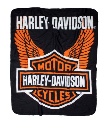 Harley-Davidson Wings Fleece Throw Blanket 50'' x 60'' Black & Orange NW918580