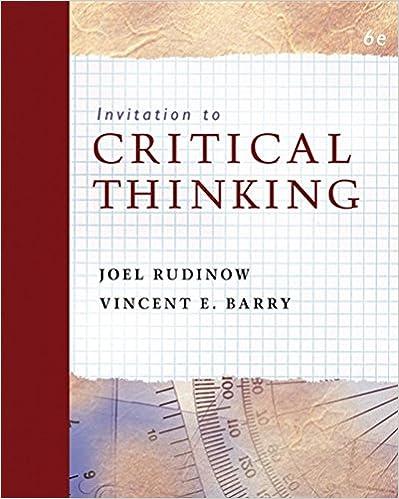 Amazon invitation to critical thinking 9780495103714 joel invitation to critical thinking 6th edition stopboris Gallery