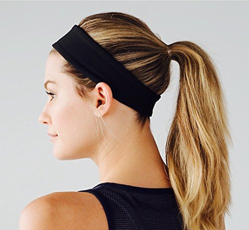 Sports Headband by Elan Vital NO SLIP GRIP Highest Quality Material, Sweat Wicking, Head Band for Sport, Yoga and Exercise Love It Guaranteed!