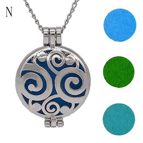 - FEDULK Vintage Pendant for Women Hollow Essential Oil Diffuser Necklace and Pad Fragrance Classic Girls Jewelry(N)