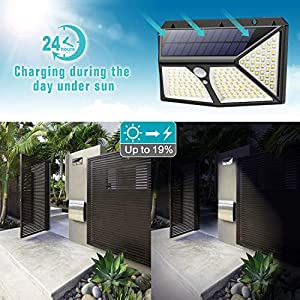 Solar Lights Outdoor, HETP【Super Bright 180 LED】Solar Security Lights Motion Sensor【270° Four-Sided Lighting 】2500 mAh High Capacity Solar Powered Lights Wall Lights with 3 Intelligent Mode (2 Pack)
