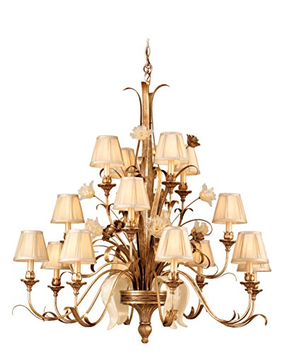 Tivoli - 16-Light Chandelier - Tivoli Silver Finish with Cream Pinch Pleat Shade