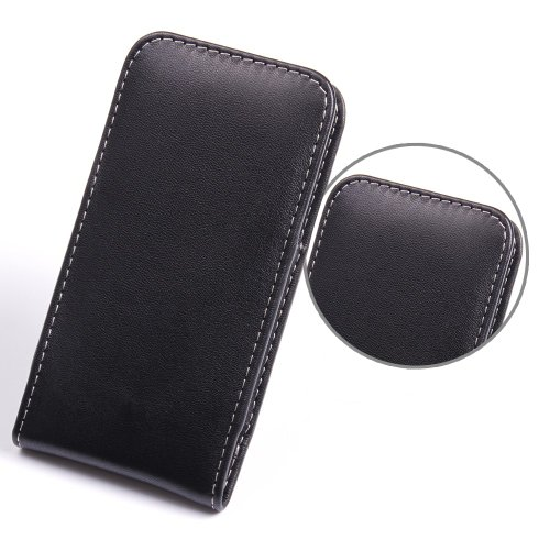 Pdair Vertical Pouch for HTC One Mini Hand Made Leather Case Cover - Black