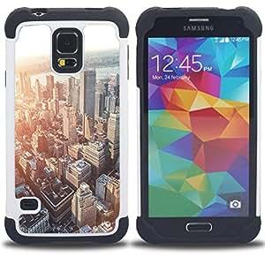 """SAMSUNG Galaxy S5 V / i9600 / SM-G900 - 3 en 1 impreso colorido de Altas Prestaciones PC Funda chaqueta Negro cubierta gel silicona suave (Horizonte de la ciudad de Boston Sunset Arquitectura"""")"""