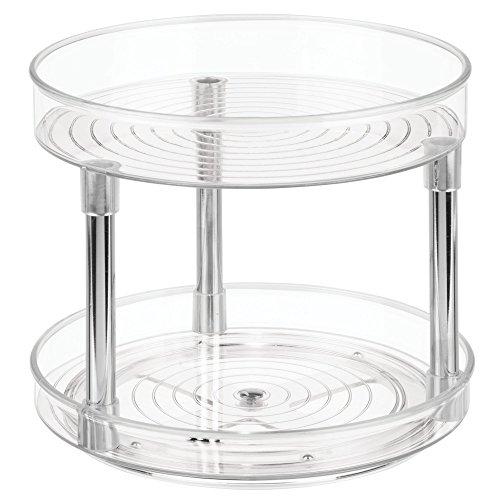iDesign Plato giratorio para cocina, organizador de armarios con 2 pisos de plastico libre de BPA, especiero giratorio para guardar especias y latas en la despensa, transparente