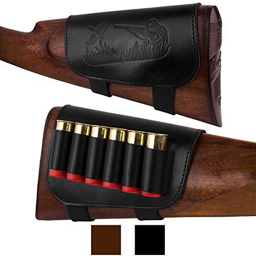 (BronzeDog Genuine Leather Buttstock Ammo Holder Shotshell Carrier Hunting Ammo Pouch Shotgun Shell Cover 12 (16) Gauge Right Handed Black Brown (Black))