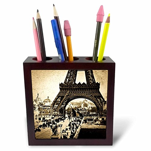3dRose ph_77448_1 Eiffel Tower with The Champ De Mars in The Distance Paris Exposition-Tile Pen Holder, 5-Inch (Pencil Pen Holder Tile)