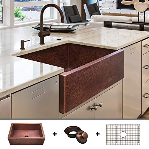 - HEAVY-GAUGE (12-Gauge) Luxury 30-Inch Modern Copper Farmhouse Sink (48.2 LBS Pure Copper), Apron Front, Single Bowl, Antique Copper Finish, Grid and Flange Included, FSW1104 by Fossil Blu