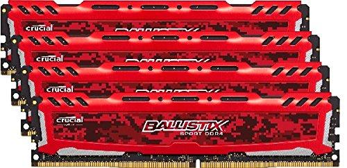 Amazon Lightning Deal 60% claimed: Ballistix Sport LT 16GB Kit (4GBx4) DDR4 2400 MT/s (PC4-19200) DIMM 288-Pin - BLS4K4G4D240FSE (Red)