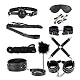 10 PCS Bed Restraints Bondage Kit with Adjustable Fur Leather Cullfs Set /Rope /Blindfold /Mouth Gag / Magic Wand / Cross Strap For Couples