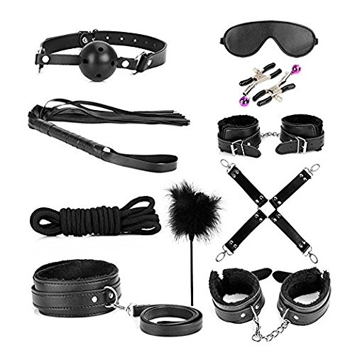 Price comparison product image 10 PCS Bed Restraints Bondage Kit with Adjustable Fur Leather Cullfs Set / Rope / Blindfold / Mouth Gag / Magic Wand / Cross Strap For Couples